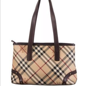 BURBERRY Haymarket Check Canvas Studded Tote Bag